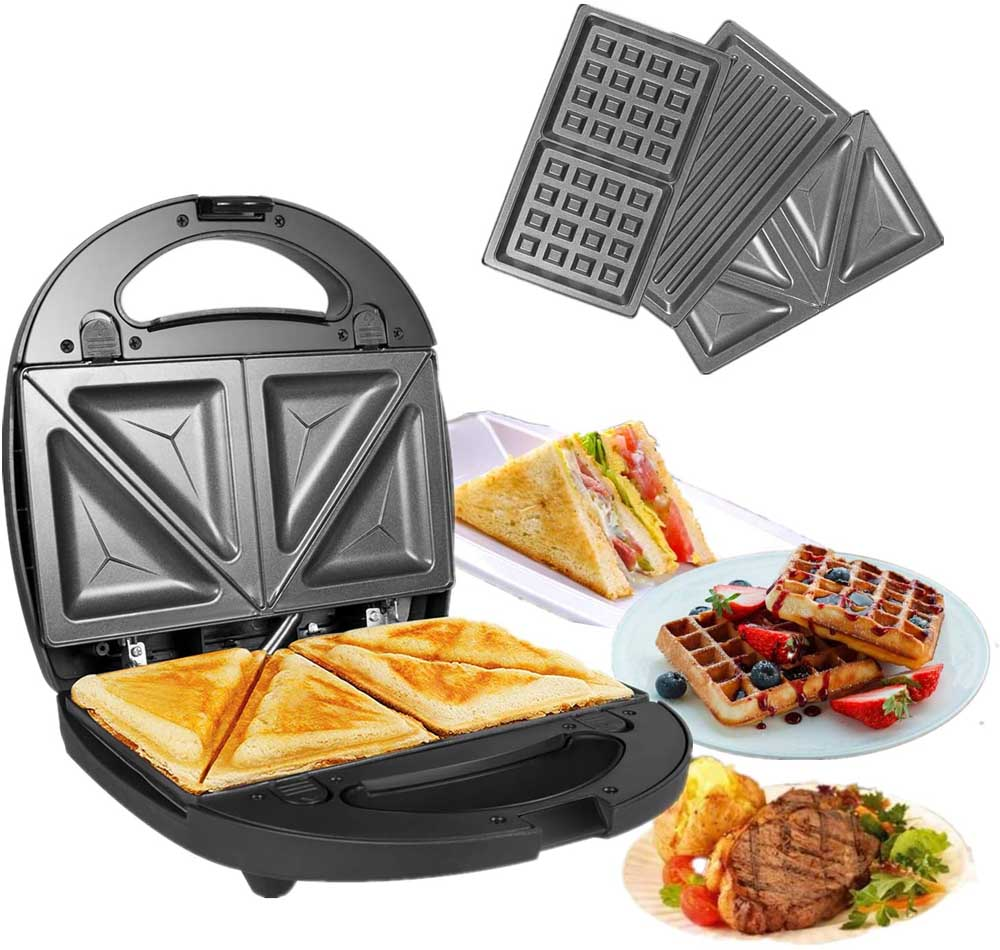 Sandwichera con grill OZAVO Sandwichera 3 en 1